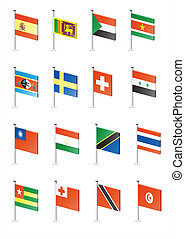 Flag icon set (part 11) - Spain, Sri Lanka, Sudan, Surinam, ...