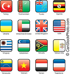 Flag icon set (part 12) - Turkey, Turkmenistan, Tuvalu,...