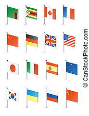 Flag icon set (part 13) - Zambia, Zimbabwe, Canada, France,...