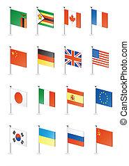 Flag icon set (part 13) - Zambia, Zimbabwe, Canada, France,...