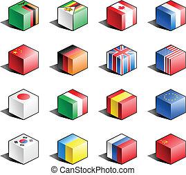 Flag icon set (part 13) - Zambia, Zimbabwe, Canada, France, ...