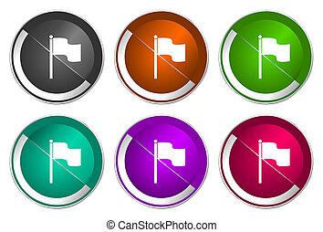 Flag icon set, silver metallic web buttons