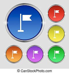 flag icon sign. Round symbol on bright colourful buttons. Vector
