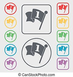 Flag icon sign. symbol on the Round and square buttons with frame. Vector