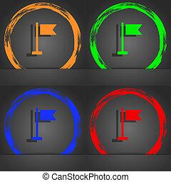 flag icon symbol. Fashionable modern style. In the orange, green, blue, green design.