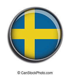 flag icon web button sweden isolated on white background