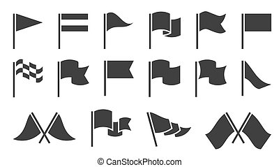 Flag icons. Black silhouette destination flags, pennant with flagpole, banners. Map location markers, start and finish symbols vector set