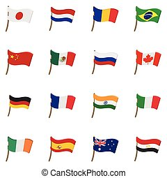Flag icons set, cartoon style