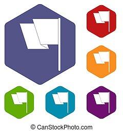Flag icons set hexagon