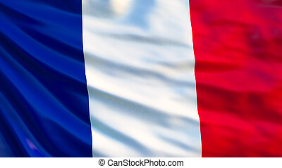 flag., illustration, france, drapeau ondulant, 3d