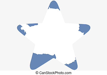 Flag Illustration inside a star of the country of Antartica...