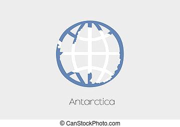 Flag Illustration inside a world icon of Antartica - A Flag...