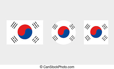 Flag Illustrations of the country of South Korea