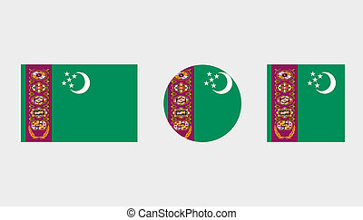 Flag Illustrations of the country of Turkmenistan