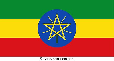 Flag in colors of Ethiopia, vector image.