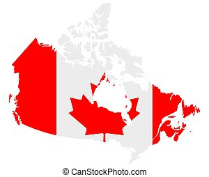 Flag in map of Canada