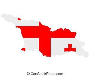 Flag in map of Georgia