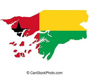 Flag in map of Guinea Bissau