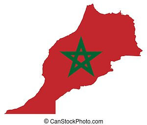 Flag in map of Morocco