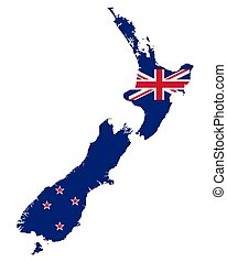Flag in map of New Zealand