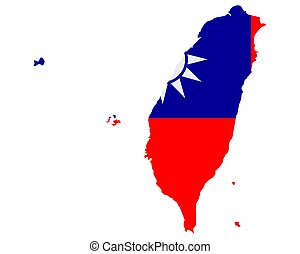 Flag in map of Taiwan