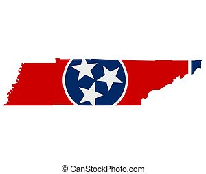 Flag in map of Tennessee