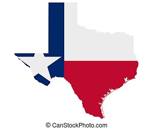 Flag in map of Texas
