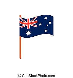 flag in pole emblem australia icon on white background