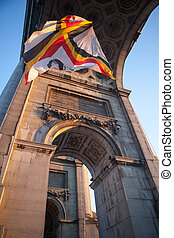 Flag in Triumphal Arch in Cinquantennaire Parc in Brussels ,...