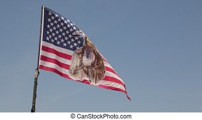 flag in USA inside the monument valley park the beauty of...