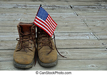 flag in work boots