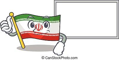 Flag iran cute cartoon character Thumbs up with board