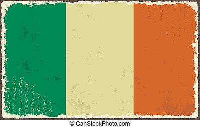 flag., irlandés, vector, grunge, ilustración