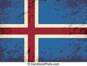 flag., islandais, grunge, arrière-plan.