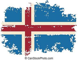 flag., islandais, vecteur, grunge, illustration.