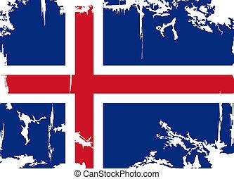 flag., islandais, vecteur, grunge, illustration