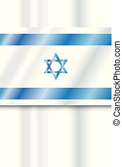 Flag Israel for Independence day festival. Israeli flag banner. Jewish holiday poster, Vector illustration.