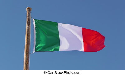 Flag Italy - Italy flag in slow motion on blue sky