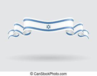flag., izraelita, wektor, falisty, illustration.