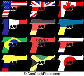 flag, kanoner