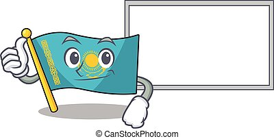 Flag kazakhstan cute cartoon character Thumbs up with board