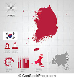 flag., korea., republik, südliches asien