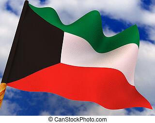 Flag. Kuwait. 3d