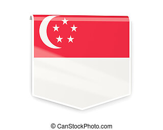 Flag label of singapore