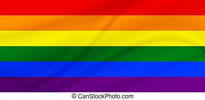 Flag LGBT squared icon, badge or button. Template design, vector illustration. Love wins. LGBT symbol in rainbow colors. Gay pride textile background