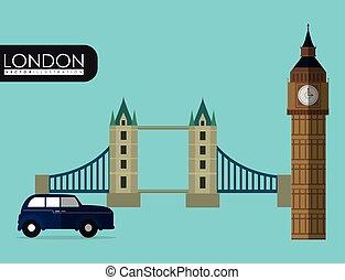 flag london england design - car bridge big ben london...