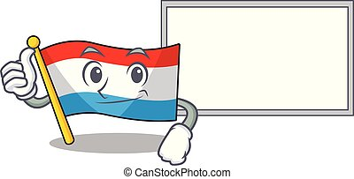 Flag luxembourg Cute character Thumbs up with board
