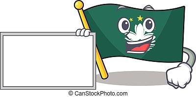 Flag macau cute cartoon character Thumbs up with board