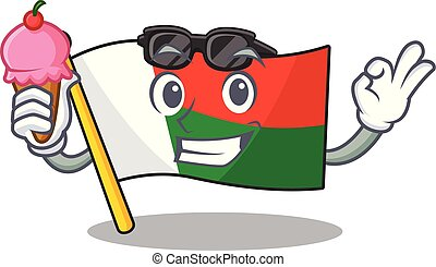 Flag madagascar cartoon with in with ice cream character