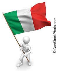 flag., mannen, italië